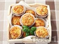 Солени мъфини с топено сирене, кашкавал и босилек
